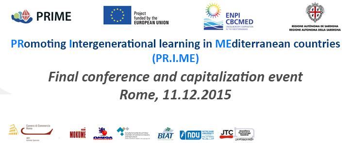 11 Dicembre 2015 – Progetto PR.I.ME – Final conference and capitalization event