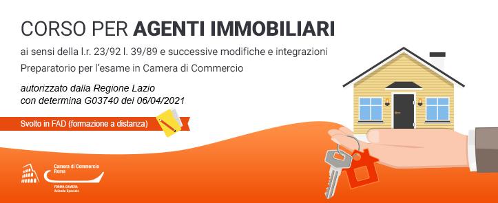 corso per agenti immobiliari svolto in FAD, preparatorio per l'esame della camera di commercio, autorizzato dalla Regione Lazio con determina G03740 del 06/04/2021