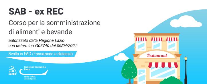 corso per la somministrazione di alimenti e bevante, svolto in FAD, autorizzato dalla Regione Lazio con determina G03740 del 06/04/2021